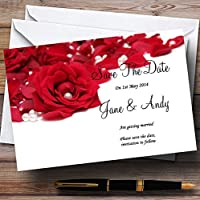 ホワイトパールレッドローズ花びらPersonalized結婚を保存日付カード 60 Invitations