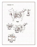 """組み合わせおもちゃ犬と掃除機特許印刷アートポスターグリッドm11190 16"""" x 20"""" 11190-512-16"""