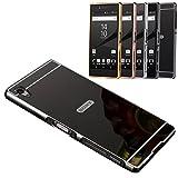 Smartfeel Sony Xperia Z3 ドコモ SO-01G/au SOL26/ソフトバンク 401SO 高精度アルミニウム バンパー ケース ネジなし 輝くバックパネル付き 鏡面反射 ロゴなし 軽量金属 装着簡単 ブラック