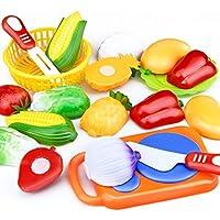 urbeauty 12pcs /設定プラスチックシミュレーションCutting Fruit and Vegetable玩具ごっこ遊びキッチン食べ物セットfor Childrenギフト