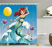 マーメイドインテリアシャワーカーテンセットby Ambesonne、図のCute Little Mermaid on Top of a Big Wave in the surf with Fish Kids装飾、マルチ型ボディ、バスルームアクセサリー、84インチ