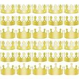 SOTOGO ゴールデンキングクラウン ゴールドパーティークラウン ホイルペーパーハットキャップ 誕生日お祝い用 ベビーシャワー 写真小道具 パーティー用品 3種 30個