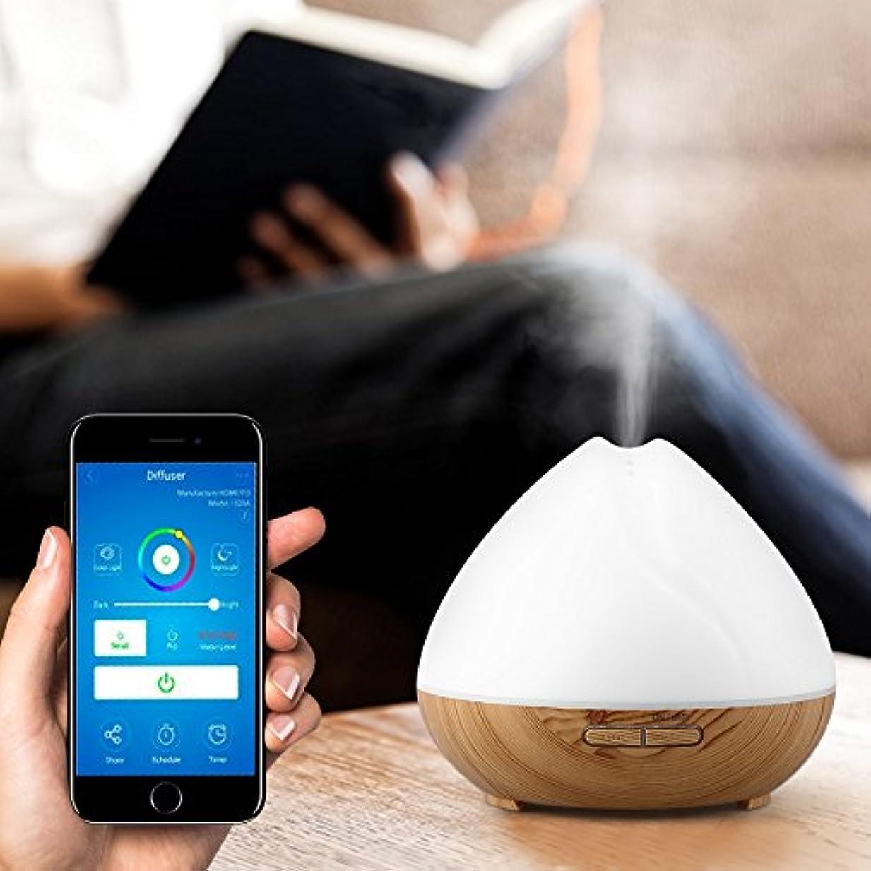 依存する受益者絶対のスマートWiFiアロマディフューザー、睡眠と呼吸を改善するLEDタイマー付きAPP制御加湿器(私たち)