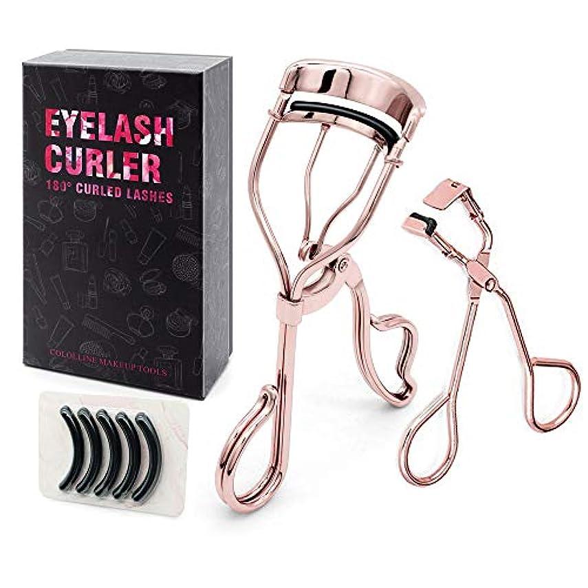 起業家楕円形排出Cololline アイラッシュカーラー ビューラー 睫毛 高級感/高品質/ステンレス製、替えゴム5個付き