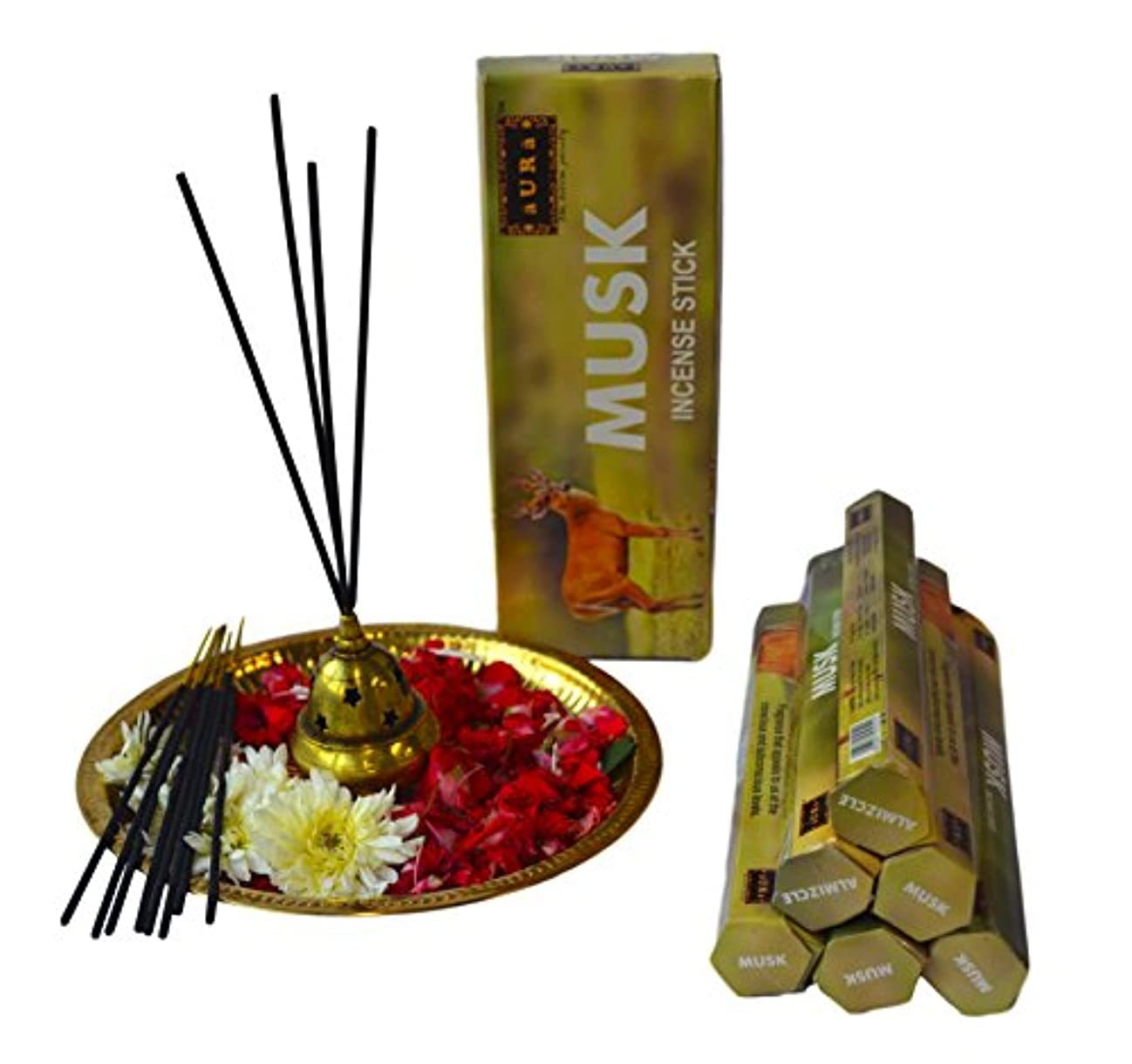 に対応やろう対角線オーラムスクの香りお香、プレミアム天然Incense Sticks、六角packing-120 Sticks