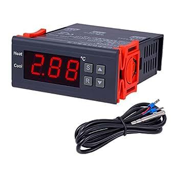 OBEST AC 10A/90V-250V デジタル温度調節器 コントロール デジタルサーモスタット -50℃~110℃ MH1210W