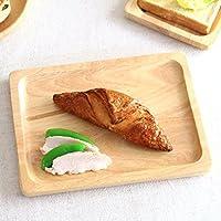 ナチュラルウッド スクエアプレート 26cm 大皿 主食皿 角皿 パン皿 モーニングプレート トレー 木製 ウッドプレート