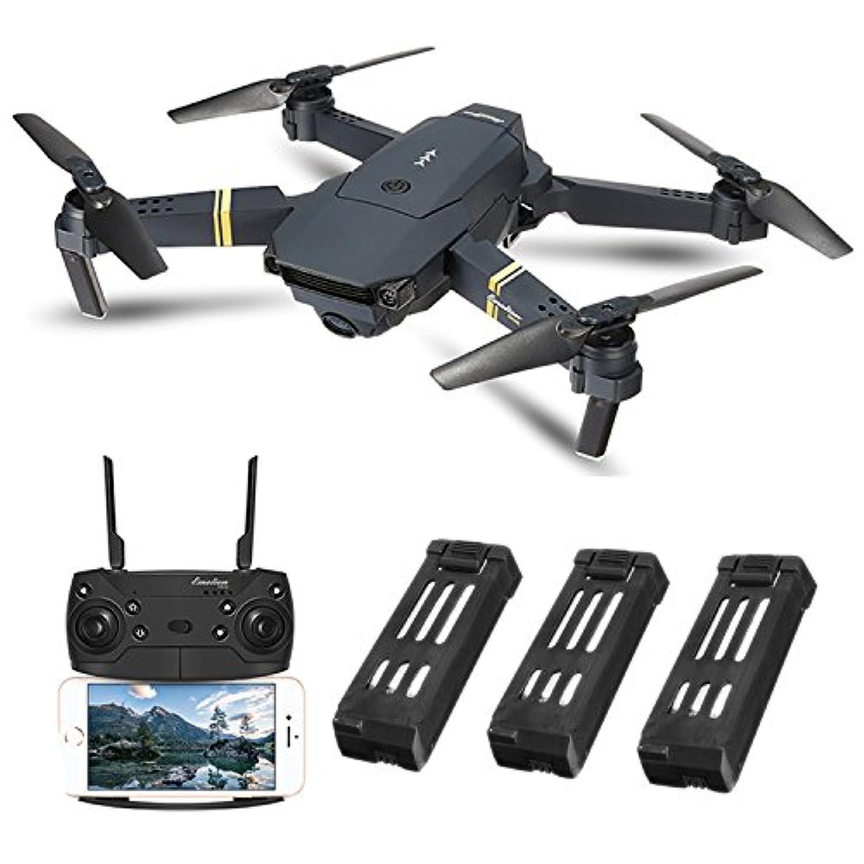 EACHINE E58 ドローン カメラ付き 小型 720P 200万画素 HD カメラ バッテリー3個 空撮 スマホで操作可 WIFI FPV リアルタイム 高度維持 自動ホバリング 2.4GHz 6軸ジャイロ ヘッドレスモード ポケット 折り畳み式