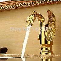 51BuyWorld トップクオリティの蛇口 ゴールド仕上げの高級スワン形状センターセット真鍮シンクの蛇口の浴室の単穴ミキサータップ キッチンバスルームのための使用ホーム屋外ガーデンウォータールーム,カバープレート付き