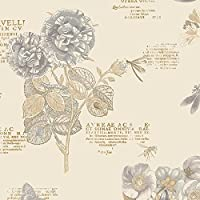 Manhattan Comfort NWPA34245 Mckeesport Floral Script Wallpaper, Off-White [並行輸入品]