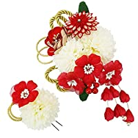 髪飾り 2点セット kk-084 赤 白 レッド ホワイト 組みひも 花 かんざし ちりめん つまみ細工 コーム型 振袖 成人式 卒業式 結婚式 七五三 袴 和装