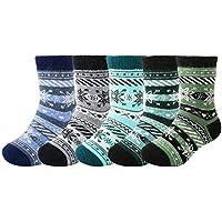 5 Pack Children's Soft Warm Thick Knit Wool Cozy Crew Socks Kids Boys Christmas Casual Fall Winter Socks