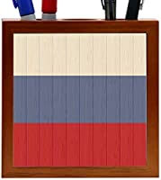 Rikki Knight Russia Flag on Distressed Wood Design 5-Inch Wooden Tile Pen Holder (RK-PH8773) [並行輸入品]
