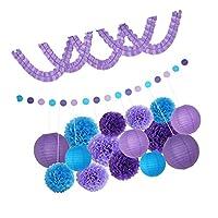 Prettyia 紙ガーランド 紙製フラワー ポンポンフラワー ハニカムボール 紙提灯 パーティー 誕生日 結婚式 飾り 4タイプ選べる - 紫