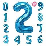 風船2数字パーティー誕生日結婚式飾り物アルミブルーバルーン40インチ超巨大(0-9)J002B