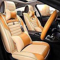 カーシートカバー、スポーティースタイル5シートフルセットユニバーサル高品質レザーシーズンズプロテクターパッド入り枕。 (色 : オレンジ)