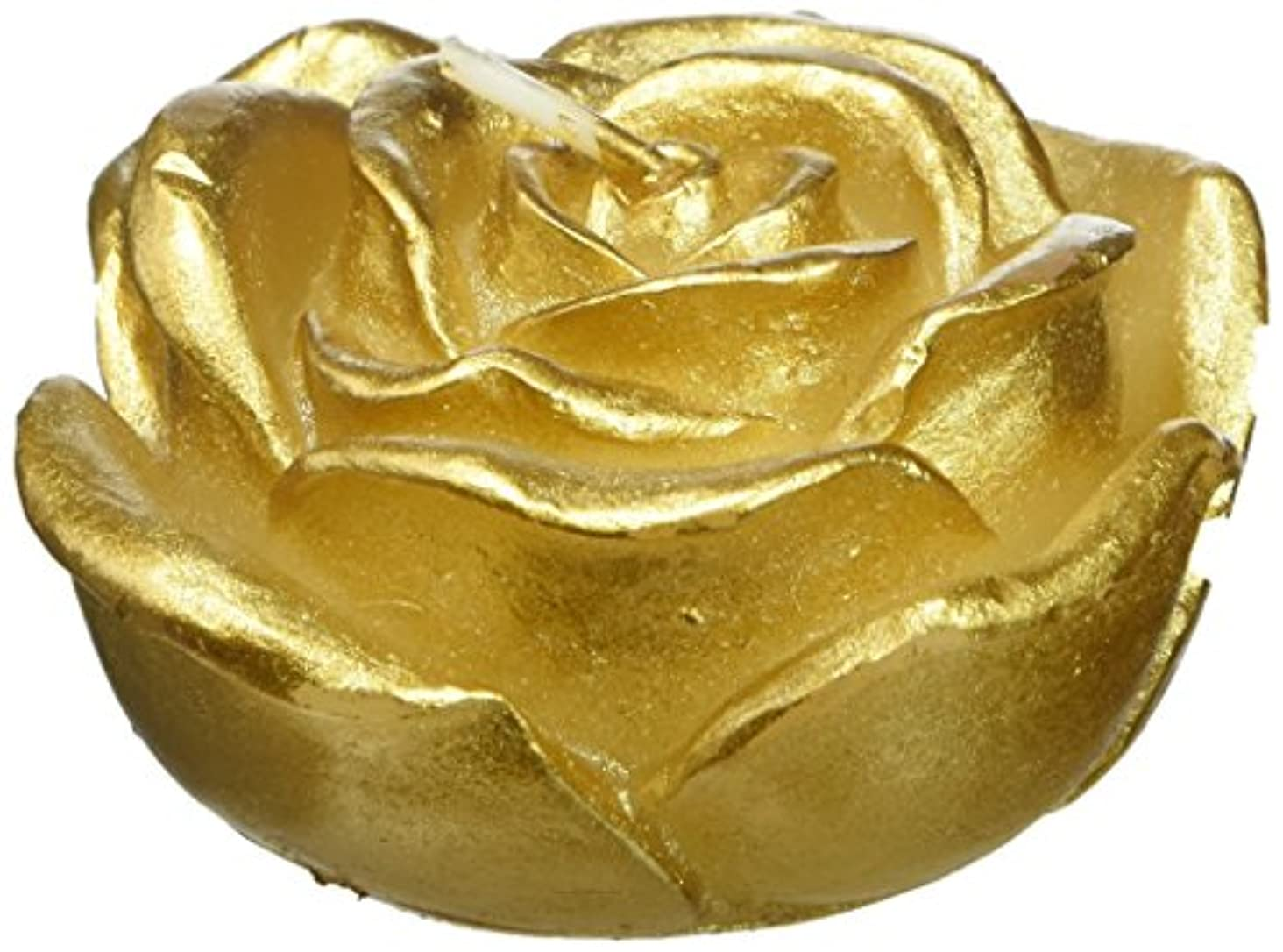 解決羽模索Zest Candle CFZ-101 3 in. Metallic Gold Rose Floating Candles -12pc-Box