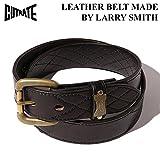 (カットレイト) CUTRATE QUILT STITCH LEATHER BELT MADE BY LARRY SMITH 小物 グッズ ラリースミス ベルト (34, ブラック)