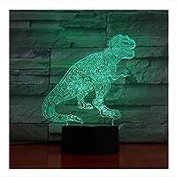 3D LEDナイトライト恐竜7色ライト付きホームデコレーションランプアメージングビジュアライゼーション錯視