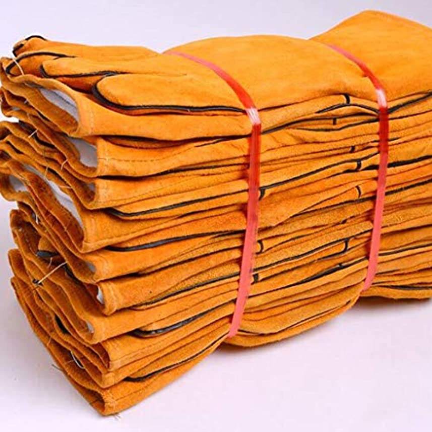 ばか練る種をまくレザーグローブ溶接機溶接溶接溶接機の手袋耐摩耗性の長い厚い耐熱絶縁の抗スケーリング8ペア SHWSM (Color : Yellow)
