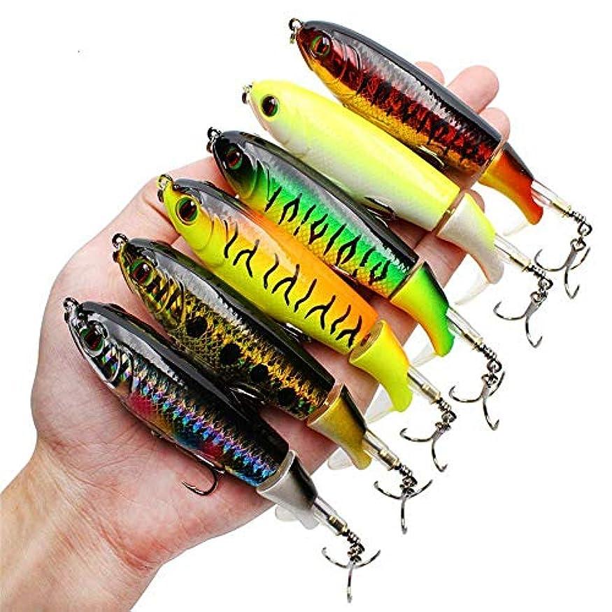 エイズダブル愛されし者GUFIKY 釣り用ルアー ワッパー 4.13インチ / 0.6オンス 回転スピンテール付き バス、トラウト、ウォールアイ、パイク、ムスキートップウォーター フローティングハードベイト バーブトレブルフック付き