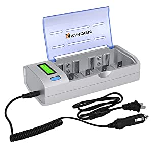 KINDEN 電池充電器 単3単4 9V 単1形・単2形 兼用型 ニッケル水素充電器 ニッカド LED付き 充電状態が一目で分かる 残量表示機能付 放電機能付 一回最大6本まで充電できる 車用でも適応 シルバー A-EC10-S
