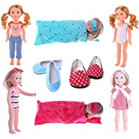 MSDS Doll Clothes for American Girl Dolls Swimsuit&2pc Sleeping bag&2 pc shoes8set for 14.5 inch Wellie Wisher Dolls