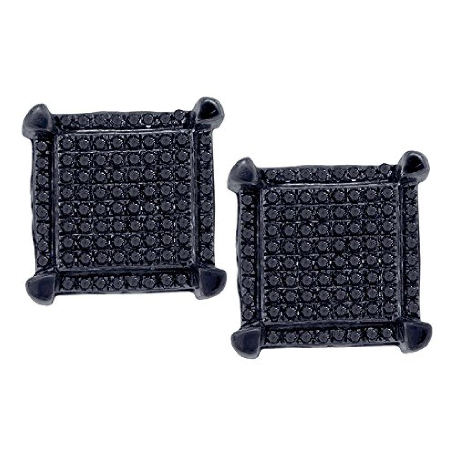 ボックスおとなしいラリーベルモント10kt ホワイトゴールド メンズ ラウンド ブラックカラー 強化ダイヤモンド スクエア クラスター ピアス 1/3カラット