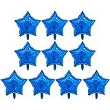 D DOLITY 10個 箔風船 ペンタグラム 結婚式 誕生日 パーティー装飾 全5色 - 青