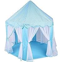 【ノーブランド品】かわいい 子供のテント 屋内と屋外 おもちゃ パーティー用 持ち運び 実用 全3色 - 青