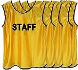 Fields 【5月限定!大セール】ビブス 「STAFF」ロゴ入り フリーサイズ 5枚セット (イエロー) イベント、ボランティア、社会活動に!