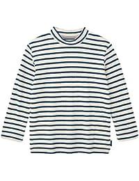 [ベルメゾン] あったか 接結 天竺 ハイネック Tシャツ オフホワイト×ネイビー系ボーダー
