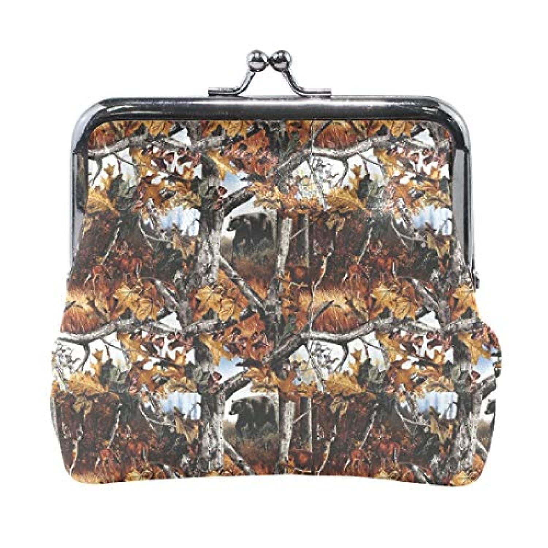 がま口 小銭入れ 財布 秋の森 コインケース レザー製 丸形 軽量 人気 おしゃれ プレゼント ギフト 雑貨