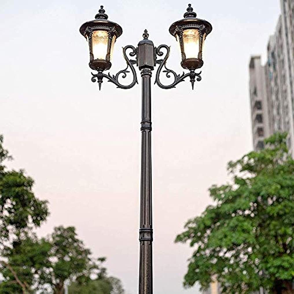 教育味方賞ヨーロッパのレトロな街路灯2つのヘッドE27ハイポール風景ランタンIP55防水防錆アルミ合金ポストライトグラスランプシェード明るいガーデンアイル照明の列をライト (サイズ : Height 2.35M)