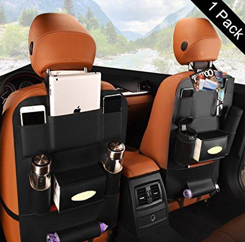 Carmoni 車用シートバックポケット PUレザー製 収納ポケット 大容量 多機能 後部座席 収納...