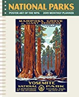 国立公園のポスターアートのWPA Softcover Monthly Plannerカレンダー2019