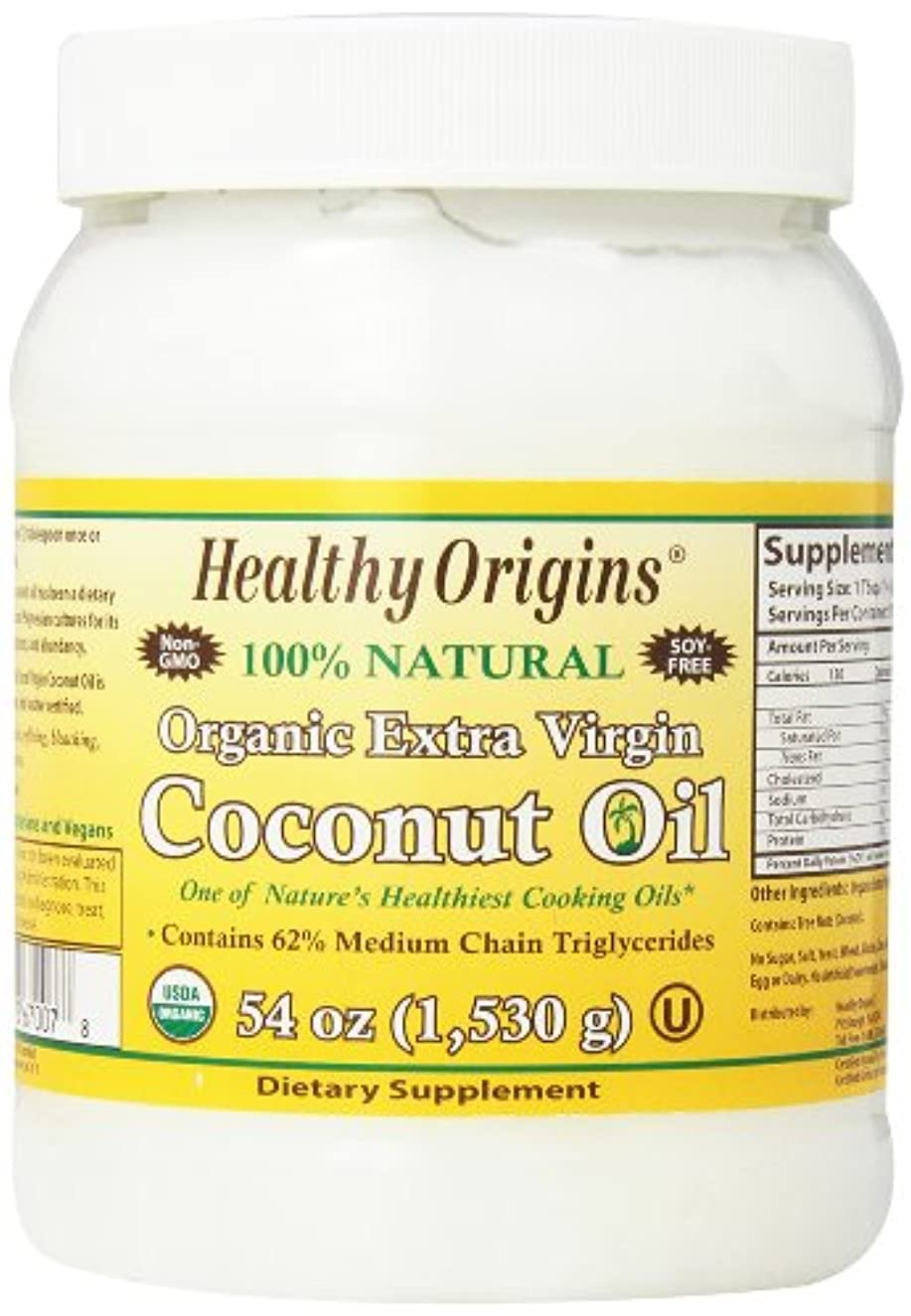 流産はしご識別する海外直送品Organic Extra Virgin Coconut Oil, 54 Oz by Healthy Origins
