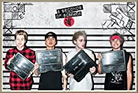 "5 Seconds Of Summer – 5 SOS – 音楽ポスター/印刷( Good Girls / The Guys – ラインアップ) (サイズ: 36 "" x 24 "" ) Brushed Champagne Aluminum Frame - 36"" x 24"""