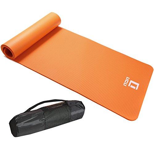 LICLI ヨガマット おりたたみ トレーニングマット エクササイズマット ヨガ ピラティス マット 厚さ 10mm 「 ストラップ 収納ケース付 」「 ニトリルゴム 滑り止め マットバッグ 」 7カラー (オレンジ)