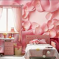 Wxmca ピンクの布は結婚式の部屋3Dの壁の壁画の壁紙のための3D壁の写真の壁画の洗える壁紙をバラしました-150X120Cm