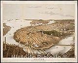 ヴィンテージ ボストン 歴史的 ポスター マップ オールドレトロ | 44in x 59in 5135111_4459_LEV1_Test