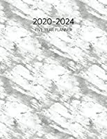 2020-2024 Five Year Planner: Monthly Schedule Agenda & Organizer for 5 Years or 60 Months - Silver And White (Marble Texture Diary With Todo List & Notes)