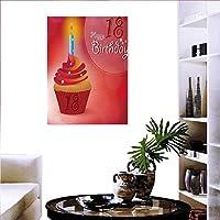 """18歳の誕生日 すぐに掛けられる ホームデコレーション ウォールデコ フライングパーティー バルーン カーリーロープ 18歳のイメージアートプリントアートステッカー 赤緑青 24""""x36"""" (60cm x 90cm)"""