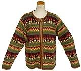 アルパカ100%セーター 男性 ファスナー付 幾何学柄 暖かい ALCF-022L