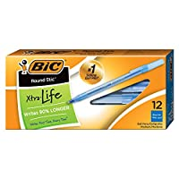 Bic Round Sticボールペン、メディアポイント( 1.0MM )、ブルー、432で合計12(ペンペン36ボックス