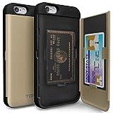 iPhone6s plus ケース「iPhone6plus ケース」耐衝撃「カードホルダー」suica「衝撃吸収」ミラー「TPUxプラスチック」スタンド「アイフォン6sプラス」アイフォン6プラス「おしゃれ」-ゴールド「TORU」