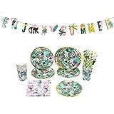 Easy Joy ジャングルの国 誕生日飾り付けセット 紙ストロー 紙皿 紙コップ ペーパーナプキン Enjoy Summerガーランド 1歳 ハーフパーティー パーティーデコレーション 受付飾り 写真背景 (Set-2)
