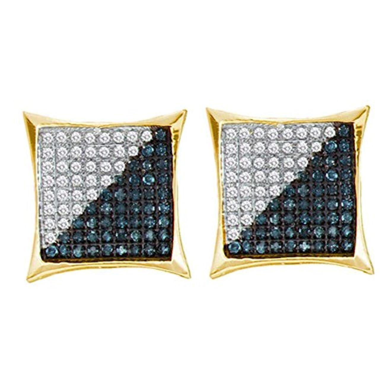 コマンド秋慣性10 KTイエローゴールドメンズラウンドブルー色Enhancedダイヤモンド正方形Kiteクラスタイヤリング1 / 3 cttw