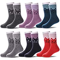 6 Pairs Children's Boys Girls Thick Animal Warm Wool Socks Kids Winter Crew Socks