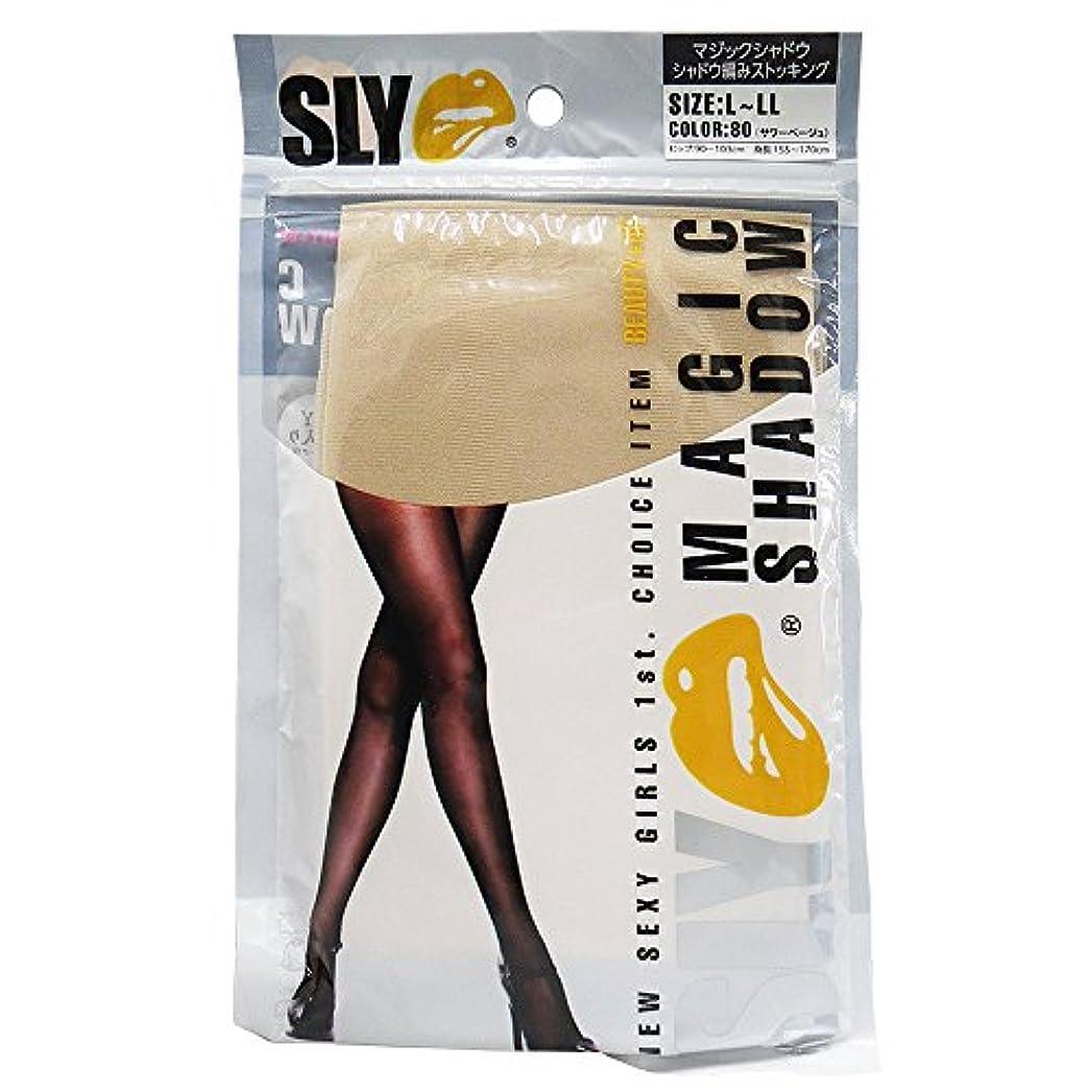 冷蔵する伝えるパースブラックボロウ砂山靴下 SLYマジックシャドウ シャドウ編みストッキング サワーベージュ(80)L-LL